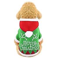 ペットコート,猫犬クリスマス冬暖かい服,クリスマスドレス,緑の可愛いペット服,冬に最高,可愛いコート (S)