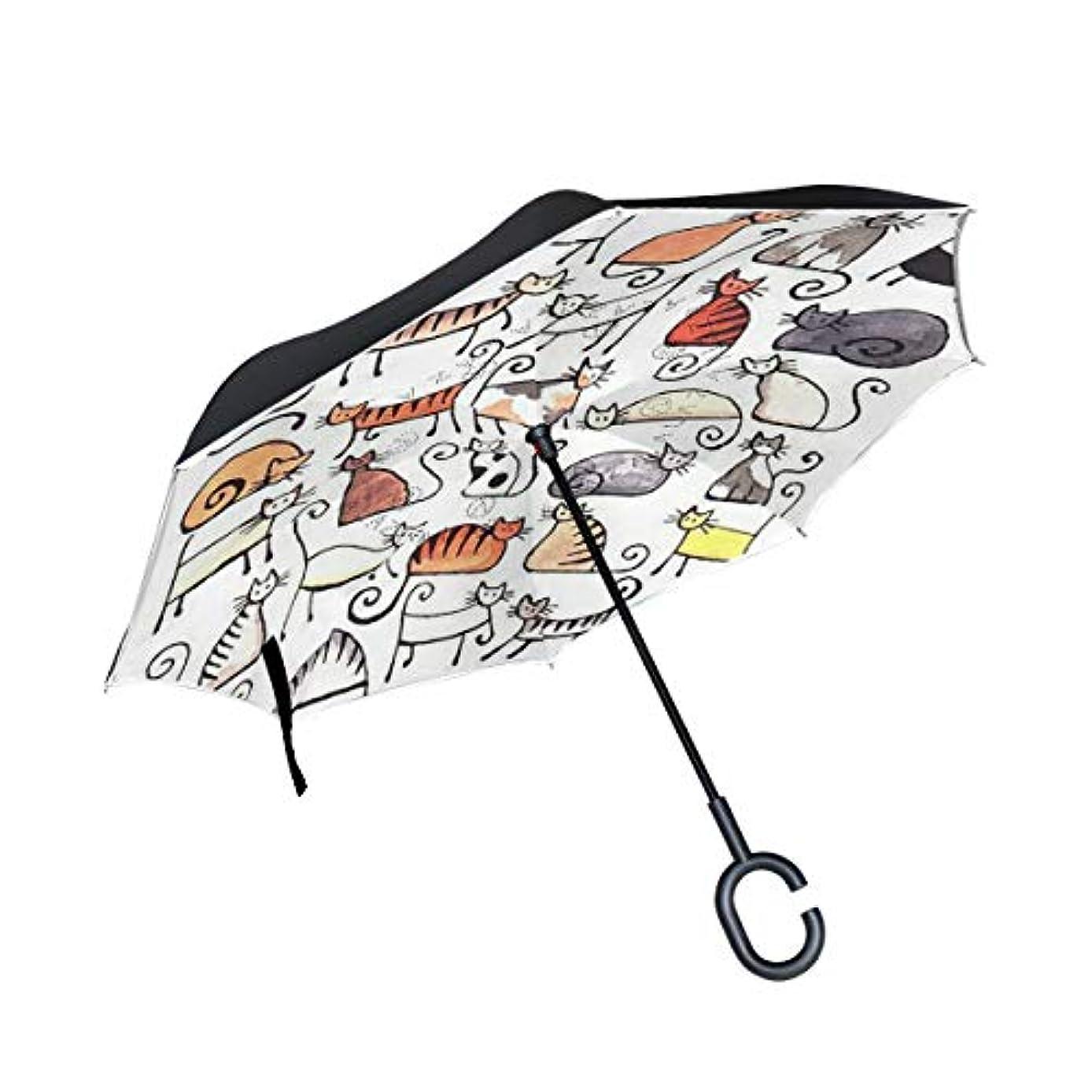 もちろん吐く動く逆傘 逆さ傘 長傘 日傘 逆折り式傘 晴雨兼用 梅雨対策 UVカット 耐強風 C型 二重構造 車用 猫柄