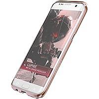 Samsung Galaxy S7 Edge アルミ バンパー ケース、Uniqe 金属フレーム Docomo S7Edge 用 航空宇宙 アルミ合金 枠ケース EVA緩衝綿付き 保護カバー (Galaxy S7 Edge, ローズゴールド)