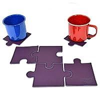 パズルレザードリンクコースターカップマット(セットof 6Pieces )ハンドメイドby Hide & Drink : :パープル