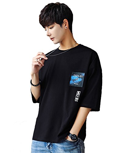 Gobuye Tシャツ メンズ 五分袖 Tシャツ 綿 春夏季対応 トップス G005 (ブラック, M)