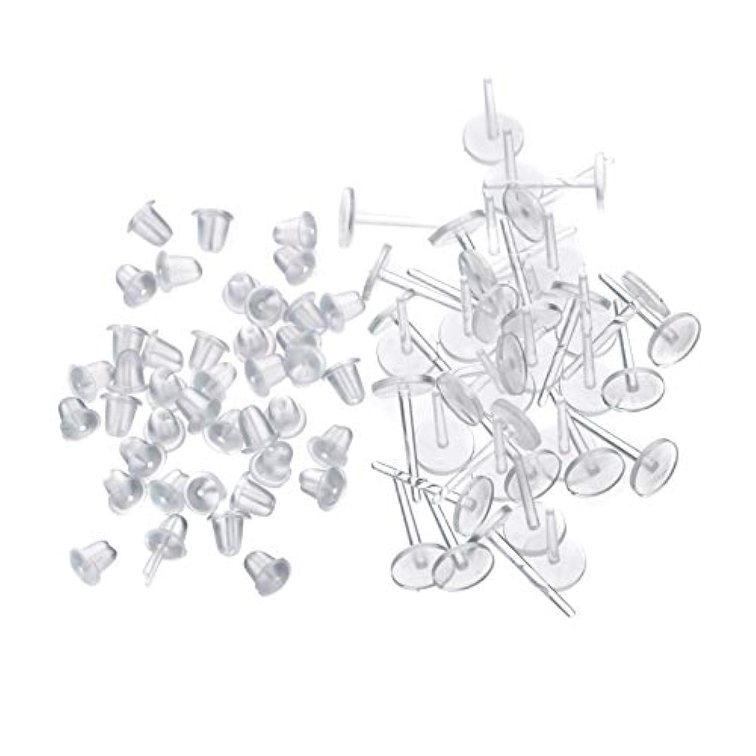 ベリー悪意器用シークレットピアス 樹脂透明ピアス 金属アレルギーフリー ピアスホール維持に最適 (20セット)