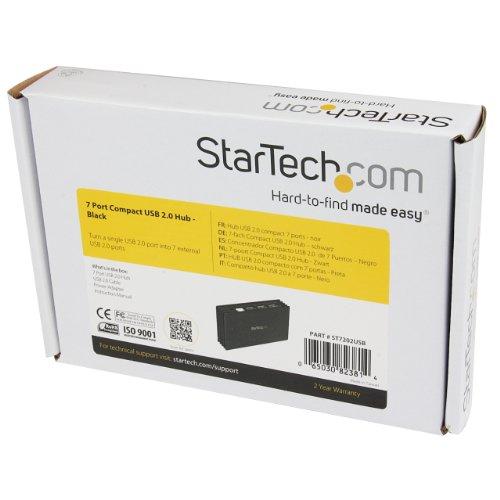 StarTech 7ポートUSB2.0ハブ(Type-A接続) コンパクトタイプ ブラック バスパワー対応 ACアダプタ付属 ST7202USB