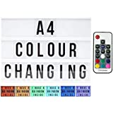 Large A4 Cinematic Light Box with Remote Control and 211 Letters and Colored Emojis. Light up Letters for LED Message Board,