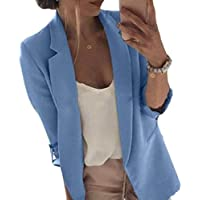 Women Long-Sleeve Open Front Blazer Work Office Lapel Jacket