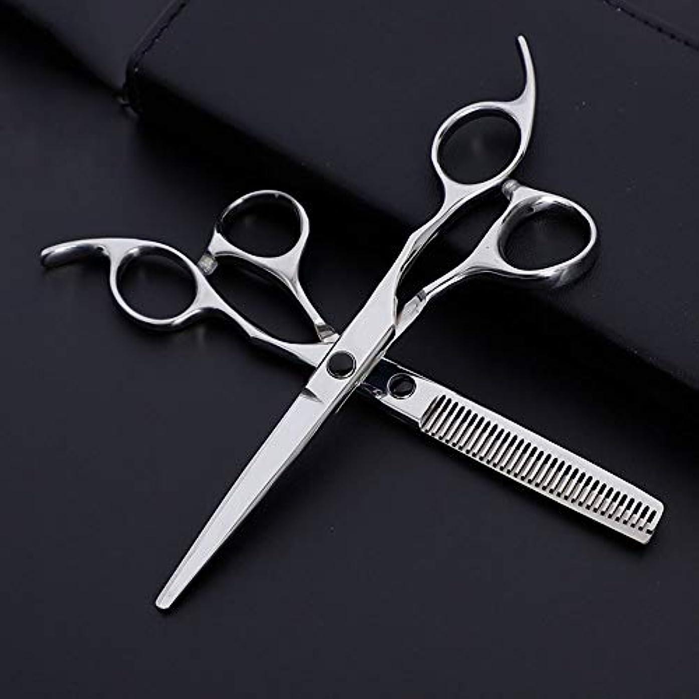 生まれメディア会話6インチ美容院プロフェッショナル理髪セット理髪はさみセット モデリングツール (色 : Silver)