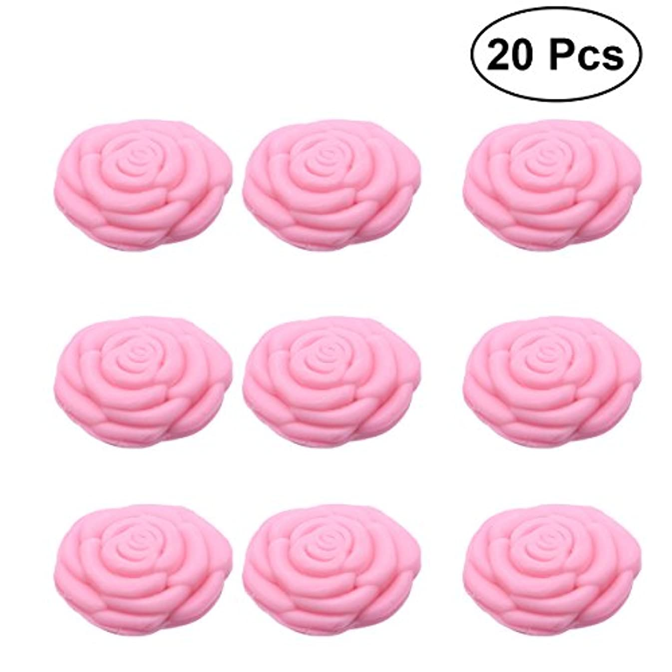水素ビュッフェグリースAmosfun 手作り石鹸オイルローズフラワーソープアロマエッセンシャルオイルギフト記念日誕生日結婚式バレンタインデー(ピンク)20ピース