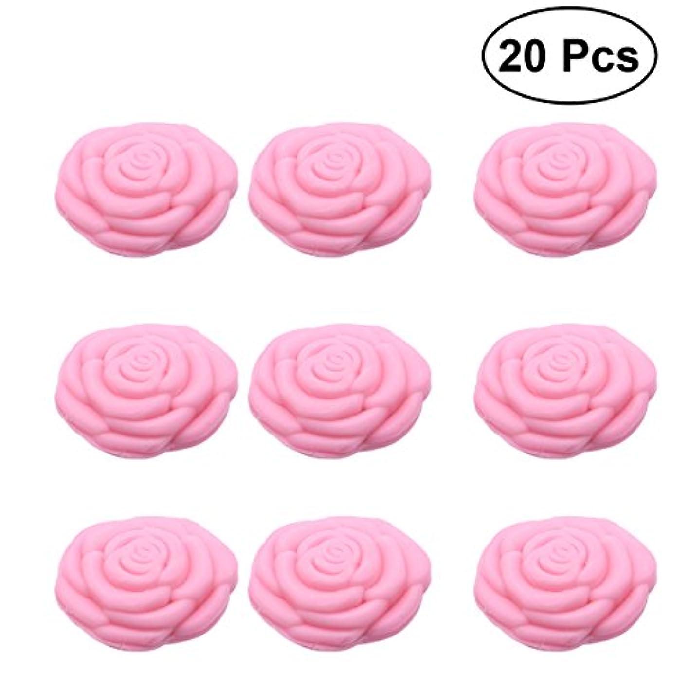 日付付きおびえた続けるAmosfun 手作り石鹸オイルローズフラワーソープアロマエッセンシャルオイルギフト記念日誕生日結婚式バレンタインデー(ピンク)20ピース
