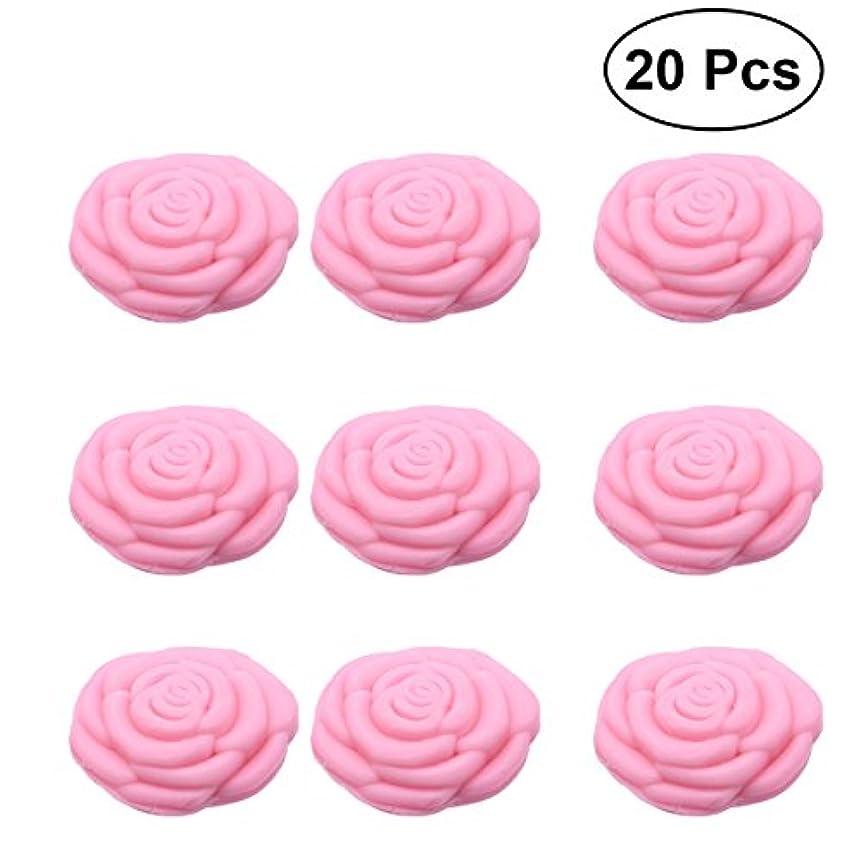 Amosfun 手作り石鹸オイルローズフラワーソープアロマエッセンシャルオイルギフト記念日誕生日結婚式バレンタインデー(ピンク)20ピース