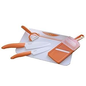 京セラ セラミックキッチン5点セット(オレンジ)ナイフ/フルーツナイフ/ピーラー/スライサー/ボード GF-502 OR