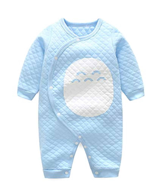シバイヌシバさん 赤ちゃんの服 ベビー服 お部屋着 ロンパース カバーオール 前開き 女の子 男の子 長袖 子供のパジャマ 四季通用 コットン 3-6ヶ月 ブルー