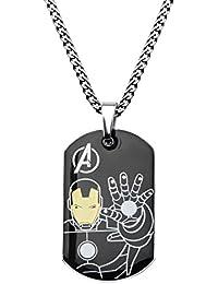 Marvel ComicsメンズステンレススチールIronman犬タグチェーンペンダントネックレス、24