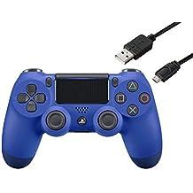 ワイヤレスコントローラー (DUALSHOCK 4) ウェイブ・ブルー (CUH-ZCT2J12) 【Amazon.co.jp特典】CYBER PS4用コントローラー充電ケーブル3m