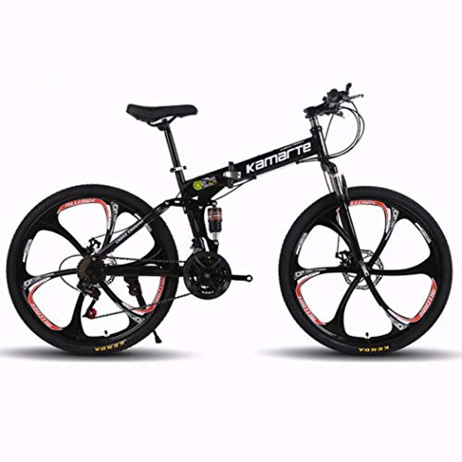 豚肉植物学者粘土折り畳み式マウンテンバイク24/26インチ 6カッターホイール付きMTB自転車、 高炭素鋼のハードテイルマウンテンバイク 衝撃吸収フロントフォークと