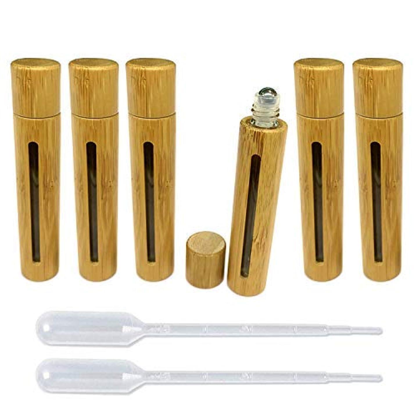 パートナーグレートオークサロン6 Pieces Roll On Bottles 10ml With Hollow Window Bamboo Shell Clear Glass Roller Bottles Empty Refillable Essential...
