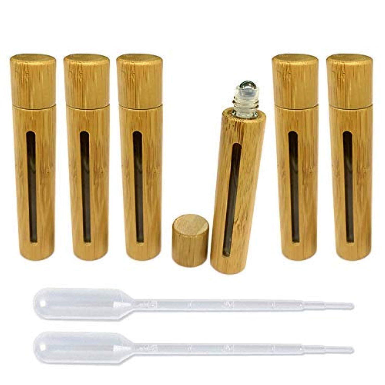 ふりをするホット急いで6 Pieces Roll On Bottles 10ml With Hollow Window Bamboo Shell Clear Glass Roller Bottles Empty Refillable Essential...