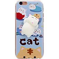 iPhone 6s / 6 Plusケース, Squishy猫電話シェルKawaiiかわいいソフトシリコンTpuバックカバーSqueeze Fidget Toy応力Relieve for iPhone 6 / 6s Plus 5.5