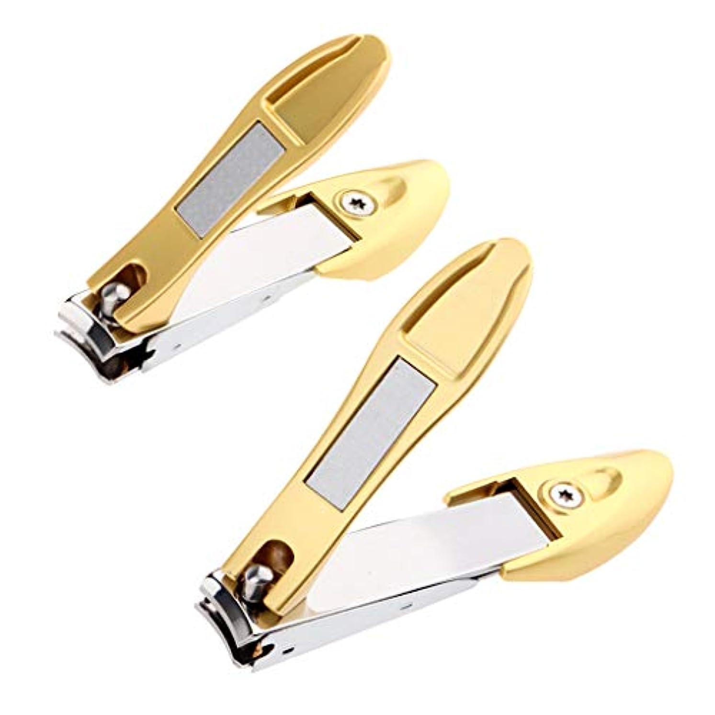 トライアスリート決定せせらぎToygogo 2ピース/個大小金色ステンレス鋼ネイルクリッパーカッターマニキュアペディキュアトリミングツール