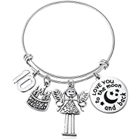 10 Year Old Girls Gifts I Love You to The Moon and Back 10th Expandable Bracelet Tenis Birthday for Her Grand Daughter from Dad Mom
