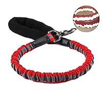 強いバンジードッグリードの反射性が高い - ソフトプルハンドルと亜鉛合金ハードウェアが付いたアンチプルショック吸収犬の鎖 - 中型から大型犬用の完璧なトレーニングリード(レッド)