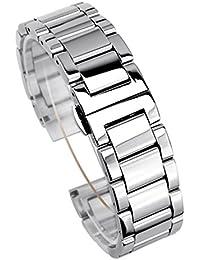 (ドノロロジオ)DonOrologio 腕時計 ステンレス ベルト メタル バンド 24mm 直カン ダブルプッシュ 観音開き 取替 鏡面 ( シルバー )