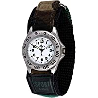 Wolfteeth Young Boys Silver Case Army Military Sport Wrist Watch Time Teacher, Nylon Hook & Loop Strap 310902