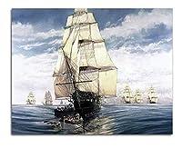 FFYYJJLEI抽象絵ウォールアクリル船プレーンセーリングDiy油絵スムーズなセーリングデッサン数字によるギフト着色キャンバスフレーム
