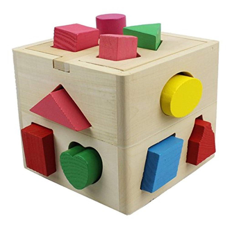 Fisca 興味図形認知 形合わせ 木製 パズル ボックス ブロック 手先器用 立体パズル 型はめ遊び 木のおもちゃ 13ピース込み 形はめ 形合わせ 出産祝い ギフト 誕生日 プレゼント