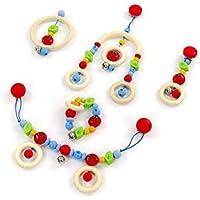 ベビートイギフトボックスFilled with Toys : Mini Trapeze、Pramゴムチェーン、チェーン、木製リング&クリップ図。For Boys & Girls