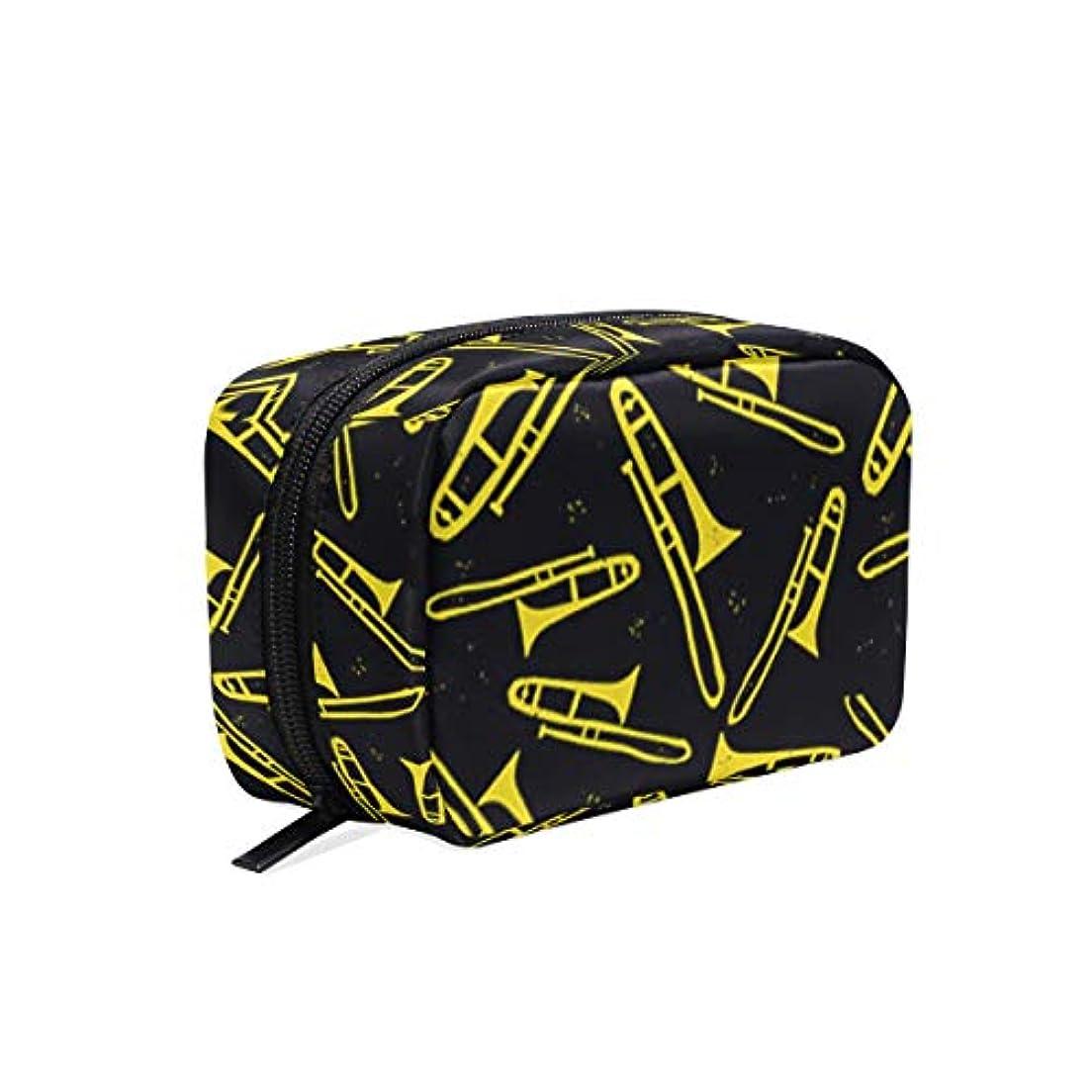 グラフィック終了する帝国トロンボーン 柄 化粧ポーチ メイクポーチ 機能的 大容量 化粧品収納 小物入れ 普段使い 出張 旅行 メイク ブラシ バッグ 化粧バッグ
