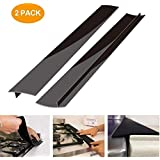 Kitchen Silicone Stove Counter Gap Cover, Easy Clean Heat Resistant Wide & Long Gap Filler, Seals Spills Between Counter, Stovetop, Oven, Washer & Dryer, Set of 2 (21 Inches, Matte Black)