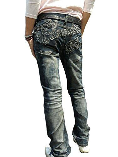 クラウド72(CLOUD72)メンズデニム#604ストレート ジーンズ オイルコーティング加工 チョイ細め シンプル刺繍 ロゴ レッドペッパー ロリータジーンズ (28)