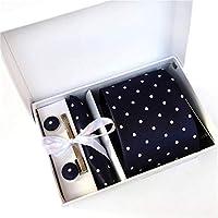 【最終価額セール】メンズ ネクタイ 洗える ピン カフス ボタン チーフ 5点セット 22種類選択可 ビジネス 就活 結婚式 入学式 パーティー プレゼント ギフトボックス付き blue04