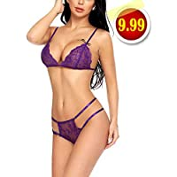 ADOME Women Two Piece Lingerie Set Lace Bra Panty Set Eyelash Lace Bralette Set