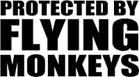 "Protected By Flying Monkeysビニールデカールステッカーバンパー車トラックウィンドウー8""ワイド光沢シルバー色"