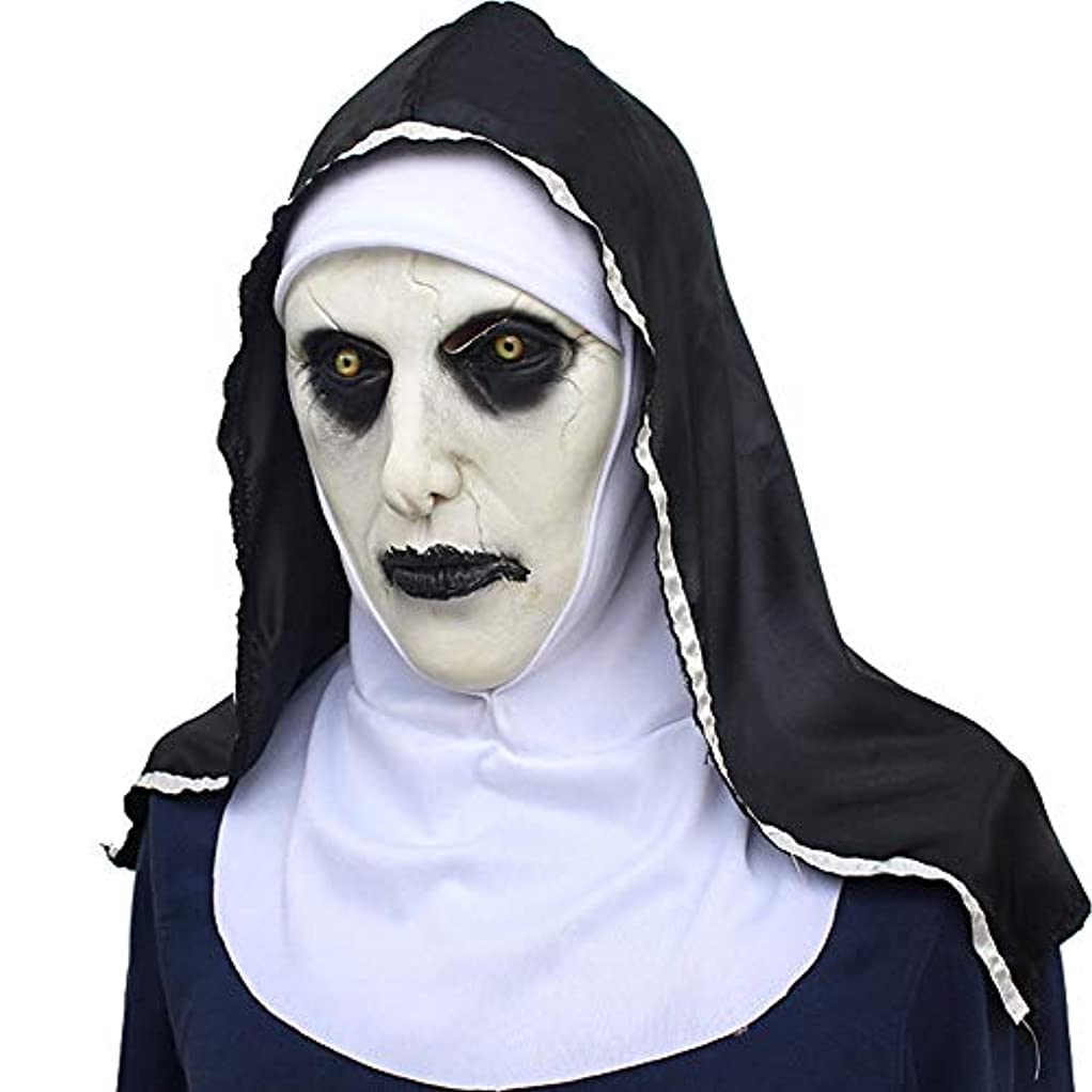不機嫌そうな縮れたソケットハロウィーンラテックスマスクホラー修道女フェイスマスクパーティー怖い面白い小道具