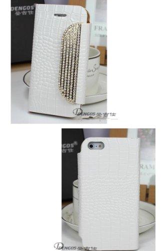 Galaxy Note3 ケース ギャラクシーノート3 ケース 横開きタイプ 保護カバー クロコダイル レザー 手帳型ケース 財布型ケース ハンドメイド  デコ キラキラ カバー ケース  スマホケース  ホワイト