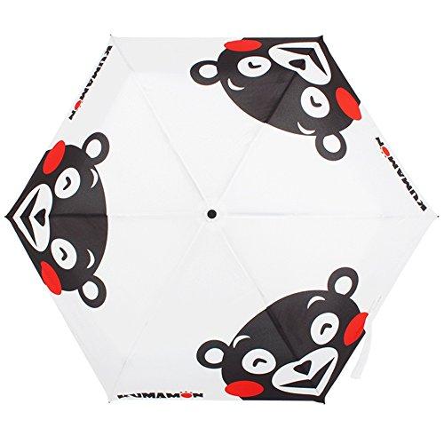 SUSINO 大人気! くまモン KUMAMON ワンタッチ開式 折りたたみ傘 高強度グラスファイバー仕様 傘 かさ 傘 メンズ 雨傘 MH002 (ホワイト)
