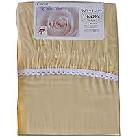 日本製三河産 綿100% ワンタッチシーツ シングル 110cm×220cm (ベージュ)