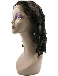 uxcell 人毛ウィッグ フルウィッグ かつら ロング 巻き髪 ルーズウェーブ レースフロント グルーレス 取り付け簡単 ブラジルのバージンヘアー 7Aルーズウェーブ レディース 自然の色