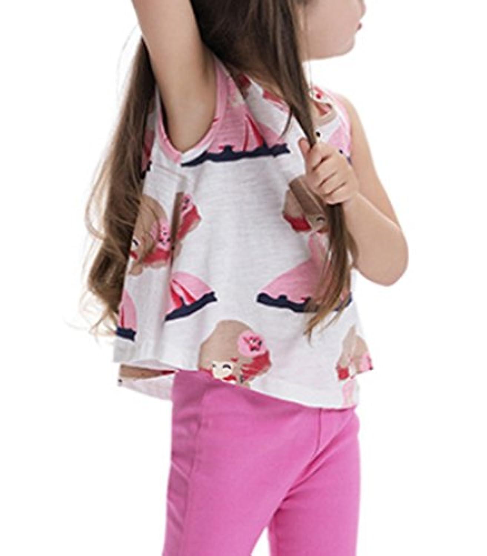 (ウォ2U)Woo2u 女の子 子供服 ガールズ 春夏 ノースリーブ Aライン 花柄 スポーツ 通園 入園式 トップス カジュアル Tシャツ ブラウス 上着 タンクトップ