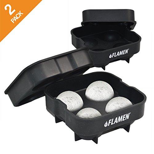Flamen まる氷アイストレー(2パック)【BPAフリーシリコン製品で簡単キレイに丸い氷を作成】直径5cm