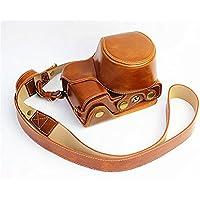 ソニーアルファ6000、6300カメラケース、koowl 手で作った最高級のpu革の全身カメラ保護殻、Sony α6000 α6300 A6300 A6000ケース(16-50mmのレンズに適用)向けの透かし彫りベース+ショルダーストラップ (ブラウン)