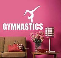 Wuyyii 57×35センチ女性体操選手ジャンプ壁ステッカー体操ダンス壁デカールスポーツの装飾B