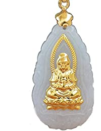 FS-ART カップル プレゼント 天然翡翠 黄金の仏像 玉観音のペンダント 観音菩薩のお守り