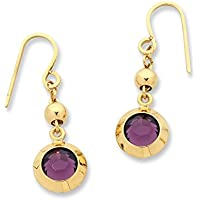 Bevilles 9ct Yellow Gold Silver Infused Purple Crystal Earrings Drop
