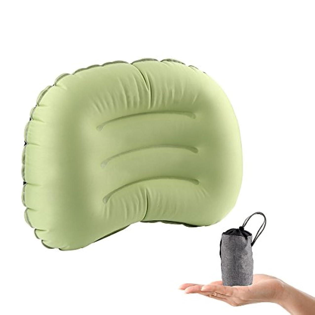 一貫性のない深さ小説インフレータブルキャンプ枕超軽量ポータブル旅行ときに快適な睡眠を提供Travelingバックパッキング、キャンプまたはwithボーナスポケット(グリーン)