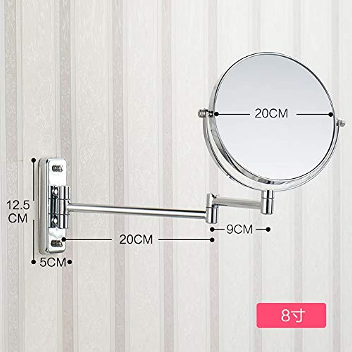 アスペクト現実的名前で照明付き化粧鏡 8.66インチ3倍拡大壁マウント化粧鏡バスルームミラー両面回転ポリッシュクローム仕上げ 化粧鏡 (Size : 8inches 3X)