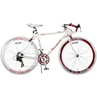 Raychell+(レイチェルプラス) ロードバイク 700C R+714 SunRise クロモリフレーム シマノ14段変速 コイルワイヤー錠/前後シリコンLEDライト付属 ホワイト/レッド