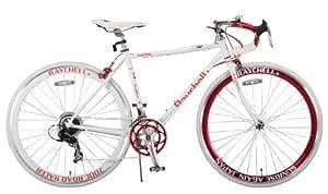 Raychell+(レイチェルプラス) ロードバイク 700C R+714 SunRise クロモリフレーム シマノ14段変速 フレームサイズ480mm・コイルワイヤー錠/前後シリコンLEDライト付属 ホワイト/レッド